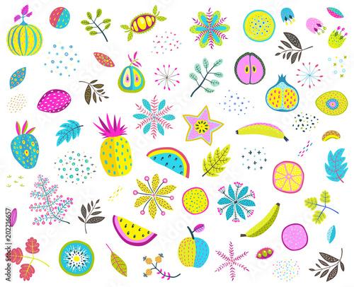 set-kolorowi-kwiecisci-owoc-dokretek-veggies-i-liscie-ilustracji-wektorowych