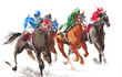 Horse racing watercolor painting illustration isolated on white background - 202226674