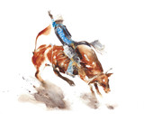 Bull rodeo watercolor painting illustration isolated on white background american sport lifestyle tradition wild west - 202226687