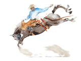 Horse rodeo watercolor painting illustration isolated on white american sport wild west tradition - 202226694