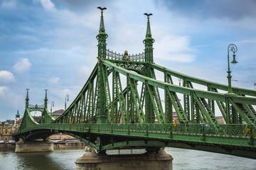 Liberty bridge on danube river budapest, hungary