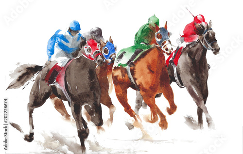 Horse racing watercolor painting illustration isolated on white background