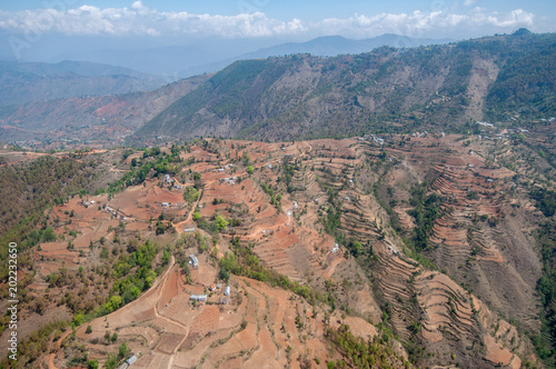 Plexiglas Zalm terraces from the air nepal