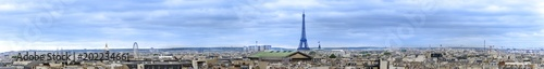 Fridge magnet Aerial panorama over roofs of Paris skyline with view of most of landmarks, Eiffel tower, Invalides, Pantheon, Ferris wheel, Madeleine, Grand Palais, Notre Dame, Sainte-Chapelle, Petit Palais, Trocaderro
