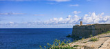 Valletta, Malta. Blue sky and sea view over the fortress wall - 202241868