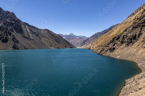 cajon del maipo blue lagoon in the andes