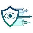 cyber security eye surveillance protection shield vector illustration
