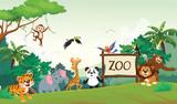 illustration of funny zoo animal cartoon  - 202279024