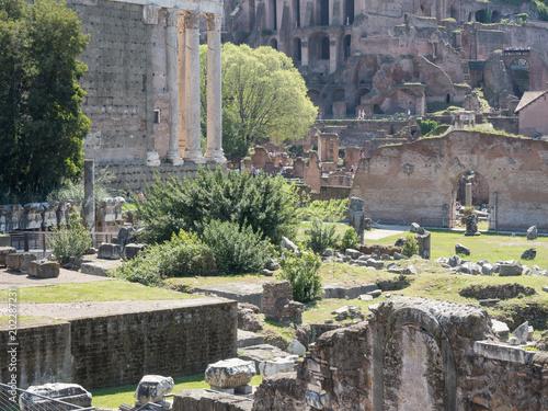 21 kwietnia 2018 r., Forum Romanum, Fori romani, starożytne miejsce antycznego Rzymu, w Rzymie, w pobliżu wzgórza Palatino