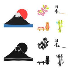 Geta, sakura flowers, bamboo, hieroglyph.Japan set collection icons in cartoon,black style vector symbol stock illustration web.