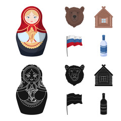 Russia, country, nation, matryoshka .Russia country set collection icons in cartoon,black style vector symbol stock illustration web.