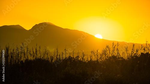 Aluminium Zonsopgang Sunrise over mountain hill