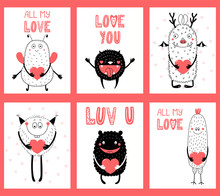 Hand Drawn Ready To Use Cards Gift Tags Templates  Cute Funny Cartoon Monsters Holding Hearts Text  Illustration  Objects Design Concept For Children Valentines Day Sticker