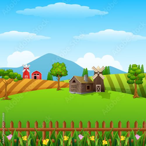 Plexiglas Boerderij Farm landscape with shed and windmill