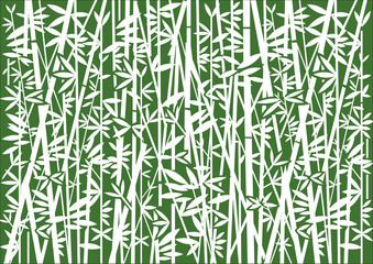 Bamboo Decorative background. Stylized Illustration of white bamboo silhouettes on green background.Vector available.