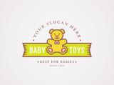 Teddy bear logo. Vector symbol for baby toys store.