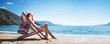 Quadro Woman Enjoying Sunbathing at Beach