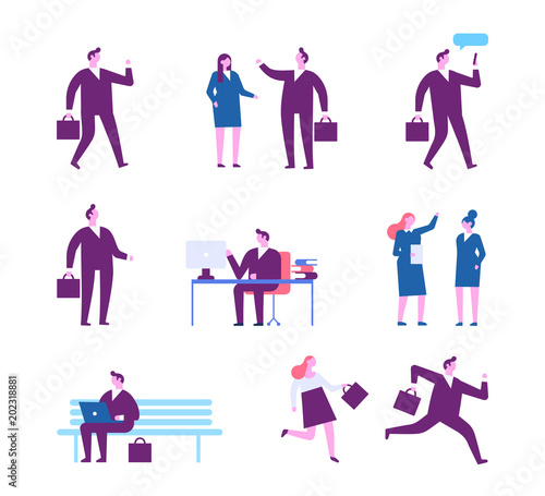 Business people characters.  Flat vector illustration isolated on white.