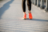 Standing in the running shoes