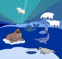 Northern landscape with different polar animals