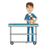 veterinary doctor with dog in stretcher avatar character vector illustration - 202327804