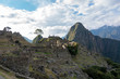 Houses and terraces of Machu Picchu during sunset