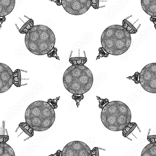 Materiał do szycia Seamless pattern of hand drawn sketch style Turkish lanterns isolated on white background. Vector illustration.