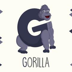 Illustrated Alphabet Letter G And Gorilla