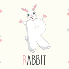 Illustrated Alphabet Letter R And Rabbit