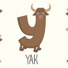 Illustrated Alphabet Letter Y And Yak