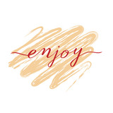 Enjoy lettering word on an apricot background
