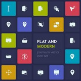 Modern Simple Set of location, folder, cursors Vector fill Icons. Contains such Icons as  vertical,  pin,  mouse, cursor, multimedia,  cloud and more on dark background. Fully Editable. Pixel Perfect