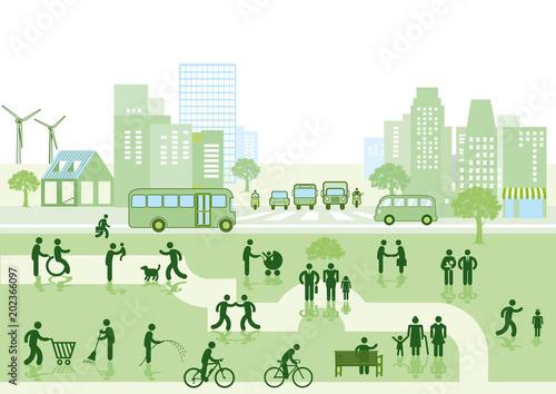 Ökologische Stadt mit Bewohner