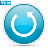Rotate blue glossy round vector icon in eps 10. Editable modern design internet button on white background. - 202366439