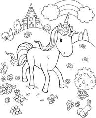 Unicorn Pony Horse Fairytale Castle Vector Illustration Art