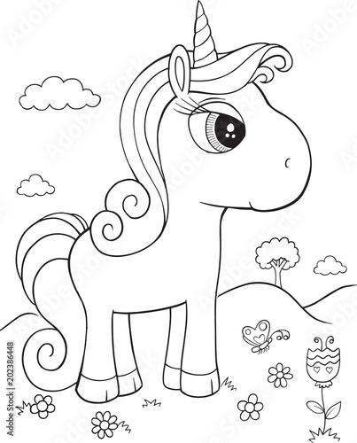 Canvas Cartoon draw Unicorn Pony Horse Vector Illustration Art