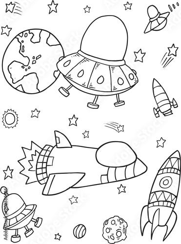 Plexiglas Cartoon draw Cute Outer Space Rocket Spaceship Vector Illustration Set