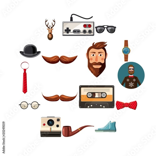 Aluminium Hipster Hert Hipster items icons set. Cartoon illustration of 16 hipster items vector icons for web
