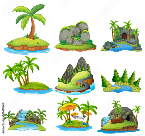 Fototapeta Beautiful Nature Island on White Background