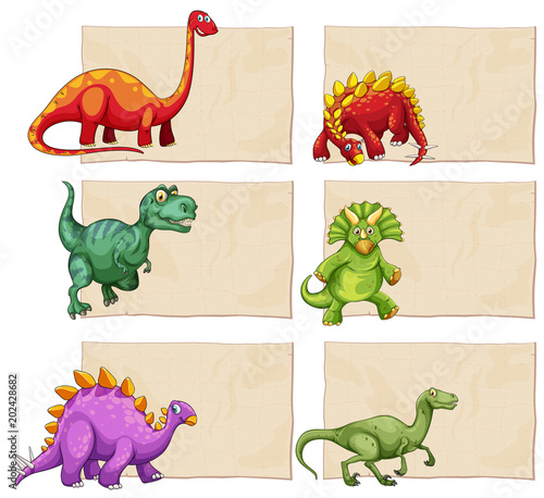 Fridge magnet Empty Template with Dinosaurs