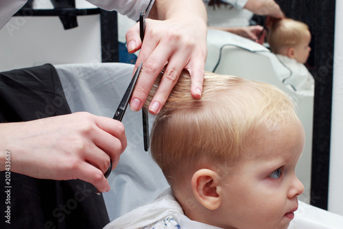 cutting hair of child