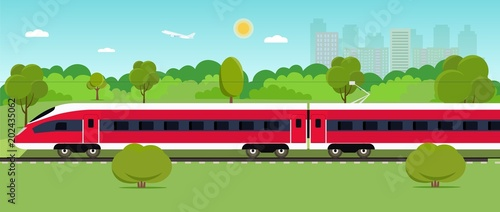 Plexiglas Turkoois Train on railway with forest and city. Vector flat style illustration