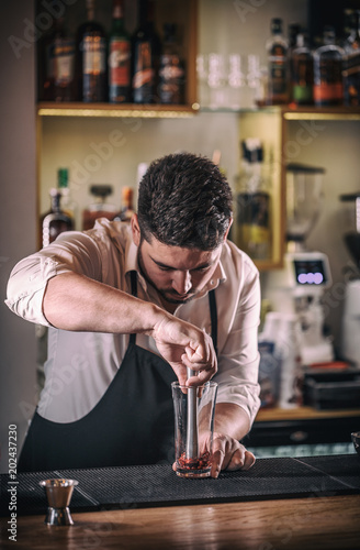 Professional bartender prepare cocktail