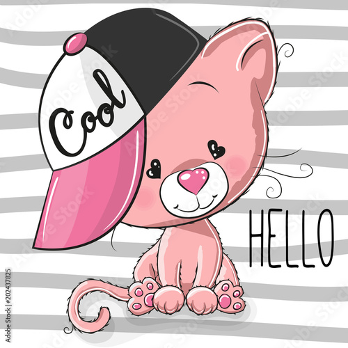Śliczny kotek z różową czapką