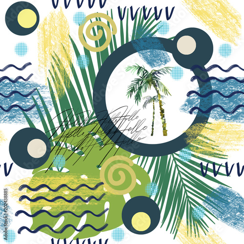 Abstract summer seamless pattern. Watercolor palm tree, brush strokes. Watercolor background in minimalistic styld painted tropical illustration.