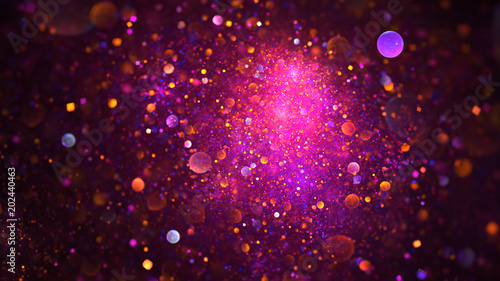 Leinwandbild Motiv Abstract chaotic glittering pink, purple and orange bubbles. Fantasy fractal design. Digital art. 3D rendering.