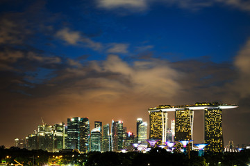 view of Singapore business district and city in Singapore, Asia.
