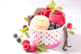 ice cream and fruits