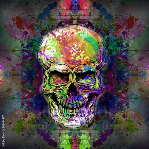Aluminium Reznik Череп на цветном творческом таинственном фоне