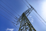 electric pylon under blue sky - 202445079